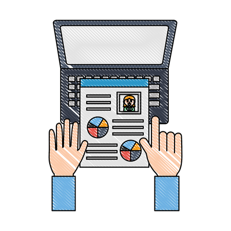 hands with curriculum vitae and laptop computer vector illustration design