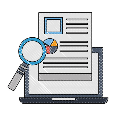 laptop computer with document and magnifying glass vector illustration design