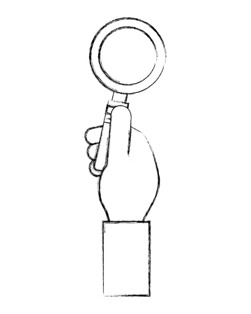 hand fist with magnifying glass vector illustration design