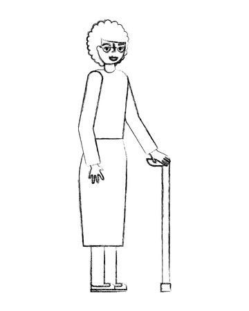cute grandmother with walking stick vector illustration design