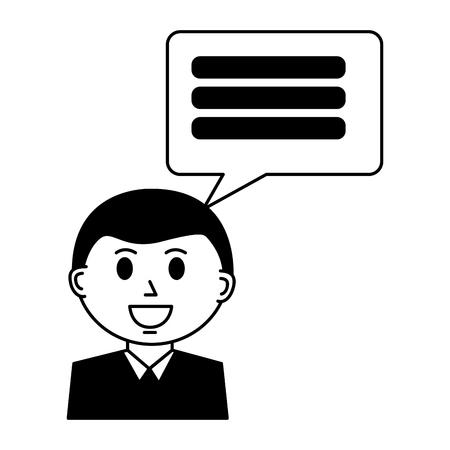 business man with speech bubble vector illustration design Banque d'images - 112389800