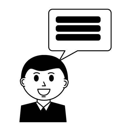 business man with speech bubble vector illustration design