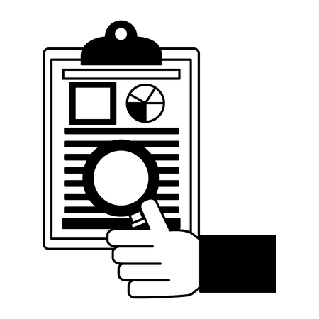 hand with checklist and magnifying glass vector illustration design