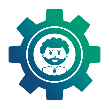 gear machine with face of businessman icon vector illustration design