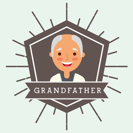 grandfather older man portrait character vector illustration