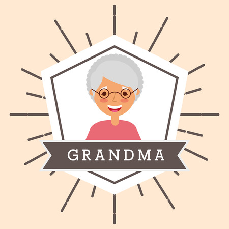 grandmother older woman portrait character vector illustration