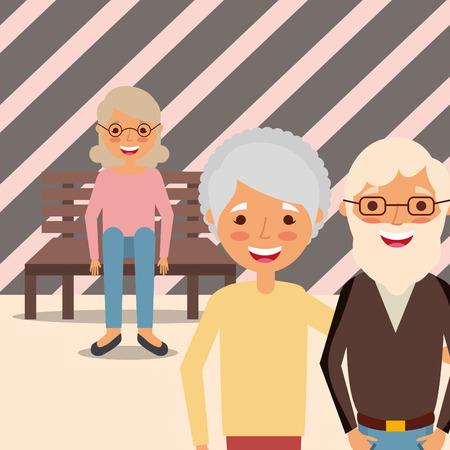 grandparents couple and grandma sitting on bench vector illustration 일러스트