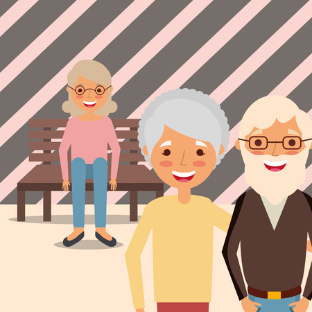 grandparents couple and grandma sitting on bench vector illustration Illustration