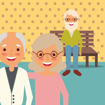 Couple de grands-parents et grand-père assis sur un banc vector illustration