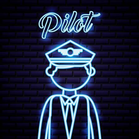 labor day man pilot professional neon vector illustration Иллюстрация