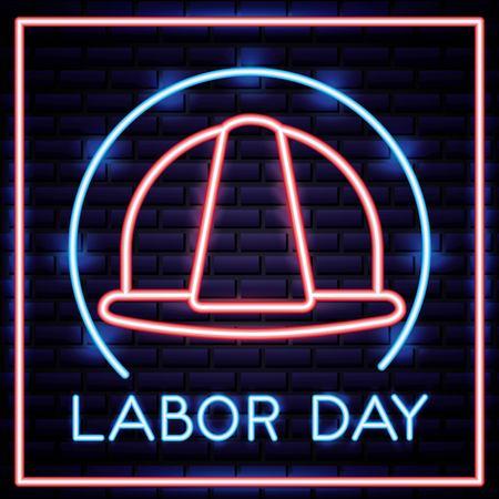 labor day label helmet builder neon vector illustration Vector Illustration