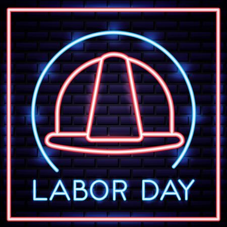 labor day label helmet builder neon vector illustration