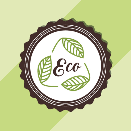 leaves label eco environment emblem vector illustration