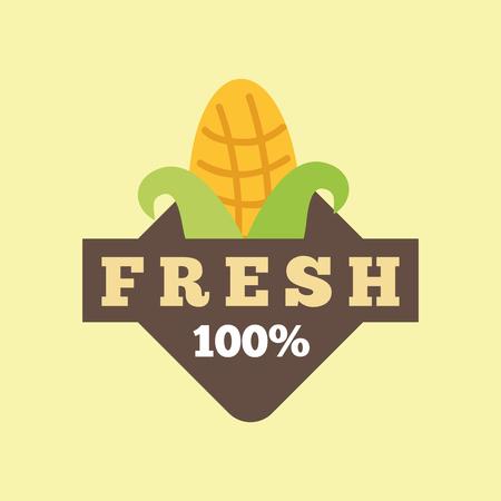 corn cob food 100 fresh nutrition vector illustration