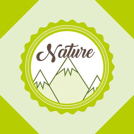 mountains peaks landscape nature label vector illustration