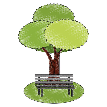 tree plant with chair park isolated icon vector illustration design