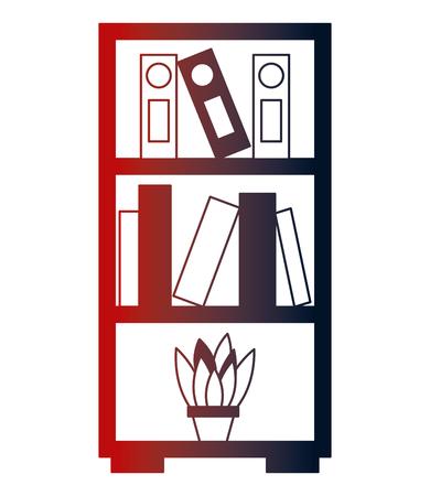 bookshelf folders books and potted plant vector illustration neon design