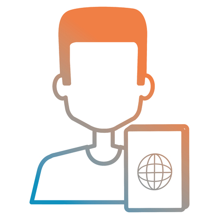 young man with passport document vector illustration design