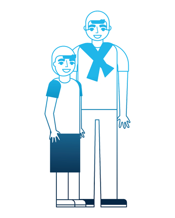 man and young boy embraced family vector illustration blue neon Stock Photo