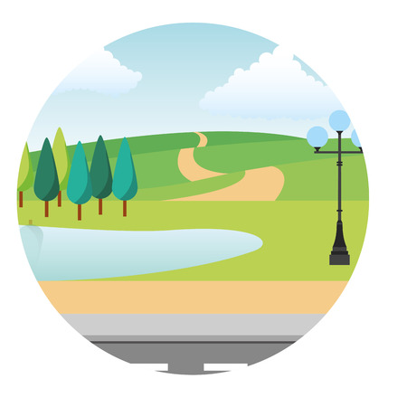 park scene with lamp isolated icon vector illustration design Stok Fotoğraf