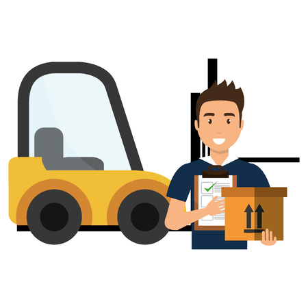 delivery worker with checklist and forklift vector illustration design Ilustração
