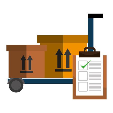 cart with delivery boxes and checklist vector illustration design Illustration