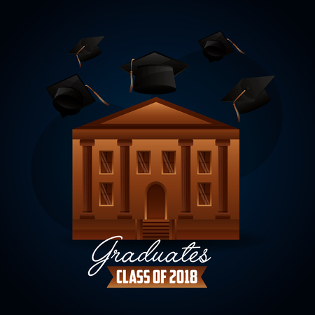 congratulations graduation hats in the air school building sign vector illustration Reklamní fotografie