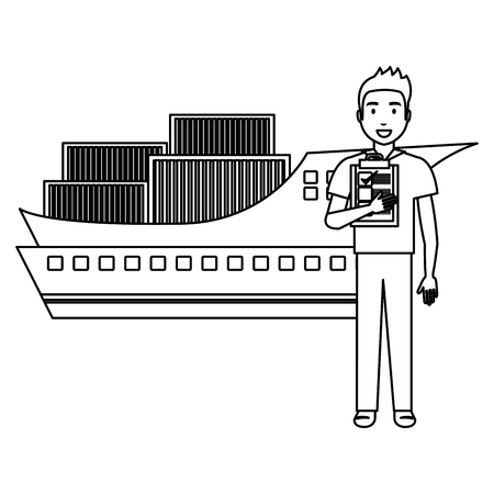delivery worker with checklist and ship vector illustration design