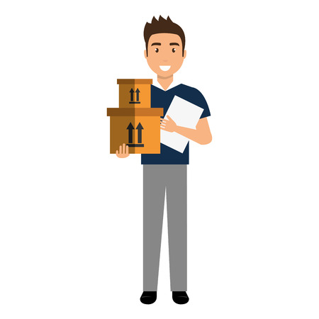 delivery worker with checklist and box vector illustration design