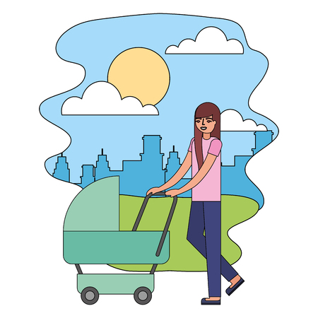 mother walking with pram baby in the street city vector illustration Stock Photo