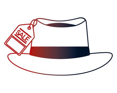 hat accessory fashion tag price vector illustration neon design