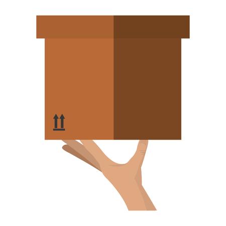 hand lifting carton box vector illustration design