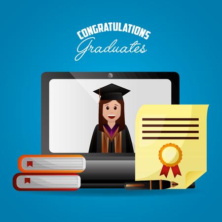 congratulations graduation girl in the computer screen student books certificate vector illustration