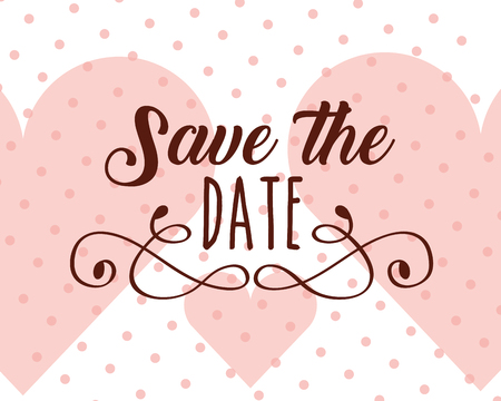 save the date love hearts dotted background vector illustration Stock Photo