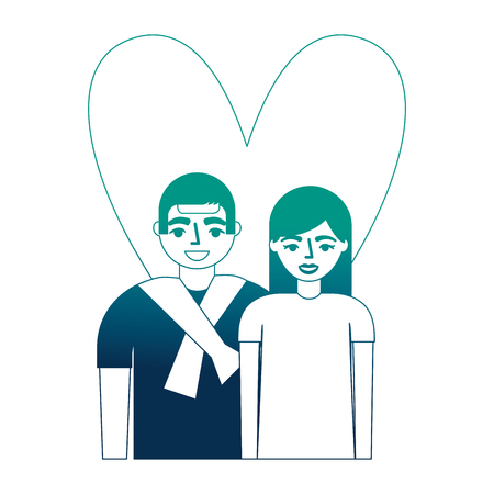 lovers couple with heart vector illustration design