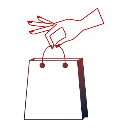 hand holding shopping bag commerce vector illustration neon design Stock Photo