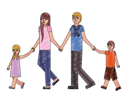 cute family avatar character vector illustration design