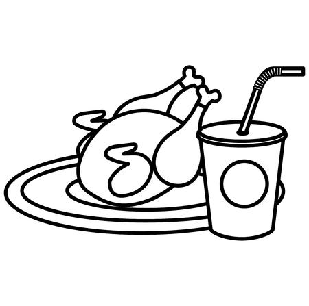 delicious chicken meat with soda drink vector illustration design Stock Vector - 112389893