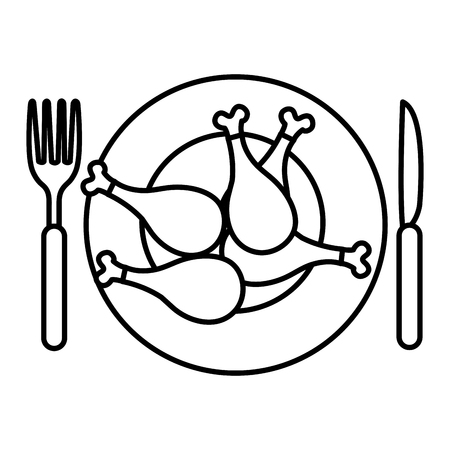 dish with chicken thighs and cutleries vector illustration design