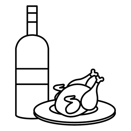 delicious chicken meat with wine bottle vector illustration design