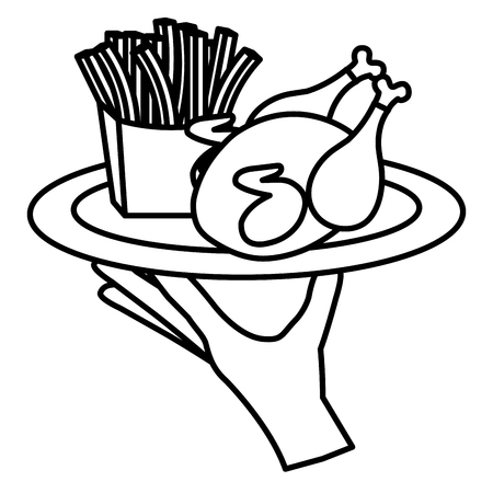 hand lifting tray with chicken and french fries vector illustration design