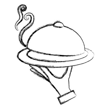 hand with tray server vector illustration design Standard-Bild - 112389899