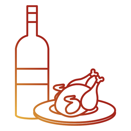 delicious chicken meat with wine bottle vector illustration design Stock Vector - 112389903