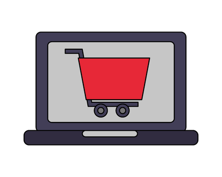 laptop computer with shopping cart vector illustration design Stock Vector - 112389906