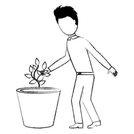 man cultivating plant character vector illustration design Illusztráció