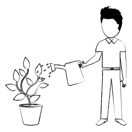 man cultivating plant with watering pot vector illustration design Illustration