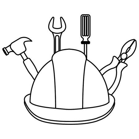 construction helmet with tools vector illustration design Vetores