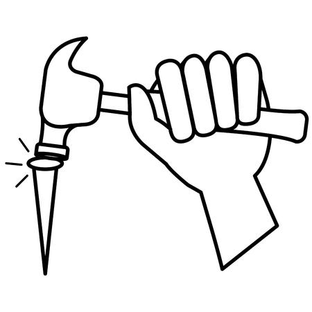 hand with hammer and nail vector illustration design Ilustração