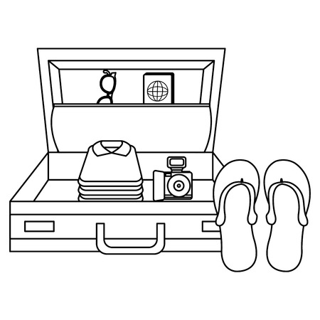 suitcase travel with sandals and camera vector illustration design Ilustração