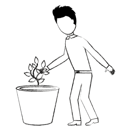 man cultivating plant character vector illustration design Stock Photo